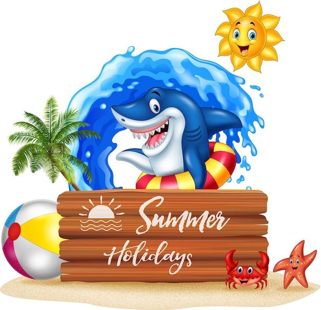 Fundo de verão com tubarão surf e sinal de madeira
