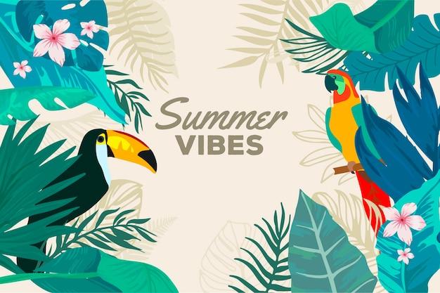 Fundo de verão com tucano e pássaro