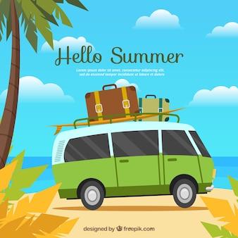 Fundo de verão com van e bagagem