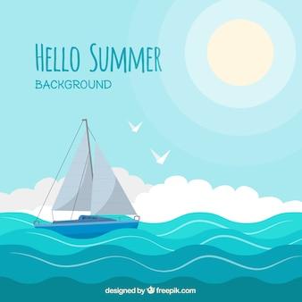 Fundo de verão com veleiro