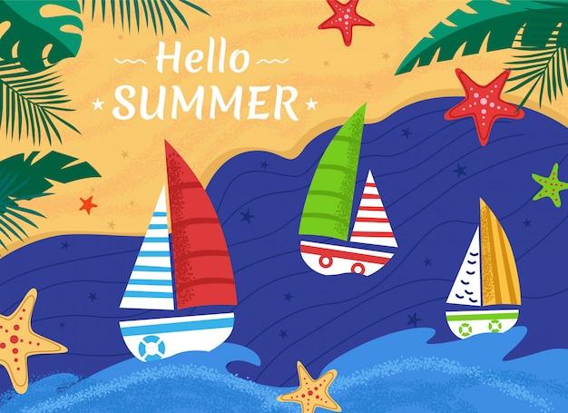 Fundo de verão com veleiros no mar