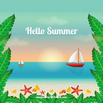 Fundo de verão com vista para a praia com veleiros
