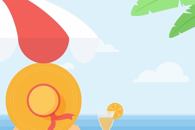 Fundo de verão com vista para a praia por trás de mulher com suco de laranja