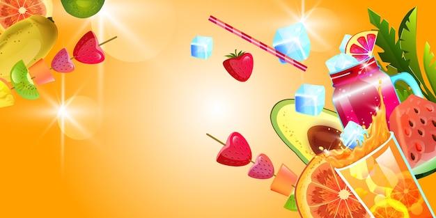 Fundo de verão coquetel de frutas tropicais limonada gelo morango