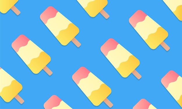 Fundo de verão de sorvete. sorvete saboroso no palito sobre um fundo azul. ilustração vetorial eps 10