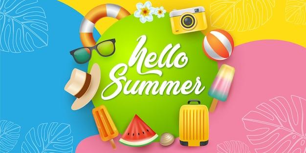 Fundo de verão divertido e colorido