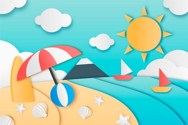 Fundo de verão em design de estilo de papel
