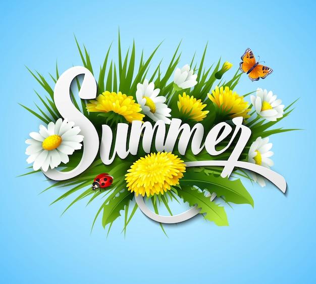 Fundo de verão fresco com grama, flores e margaridas