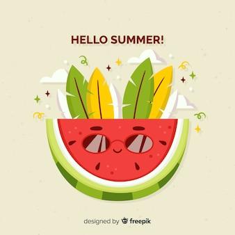 Fundo de verão mão desenhada melancia