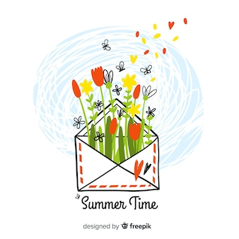 Fundo de verão olá desenhados mão colorido