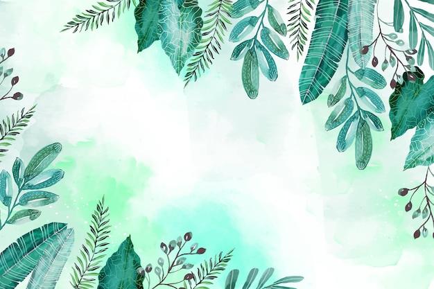Fundo de verão pintado à mão em aquarela tropical
