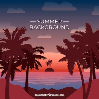 Fundo de verão plana com silhuetas de árvore de palma ao pôr do sol