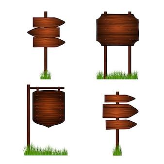 Fundo de verão prancha de madeira. modelo de sinais. conjunto