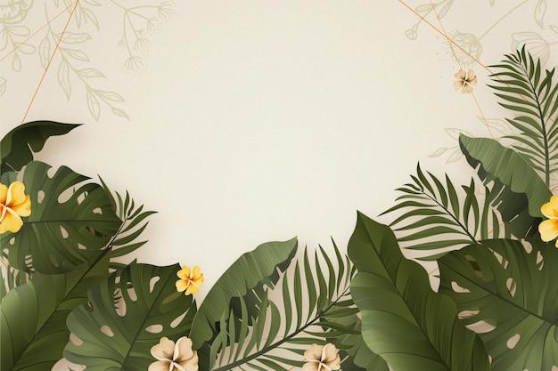 Fundo de verão realista com folhas tropicais
