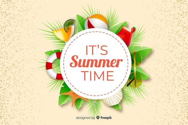 Fundo de verão realista com objetos de verão