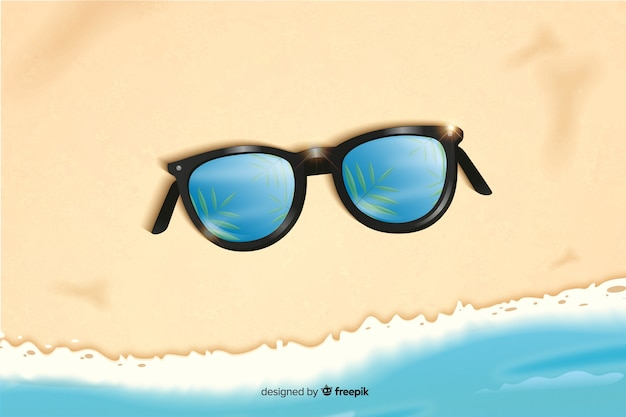 Fundo de verão realista com óculos de sol