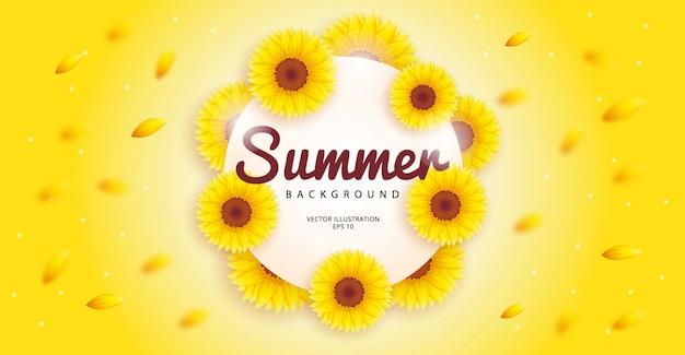 Fundo de verão simples com um tema de girassol florescendo. modelo de ilustração.