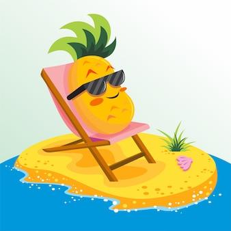 Fundo de verão super com abacaxi bonito