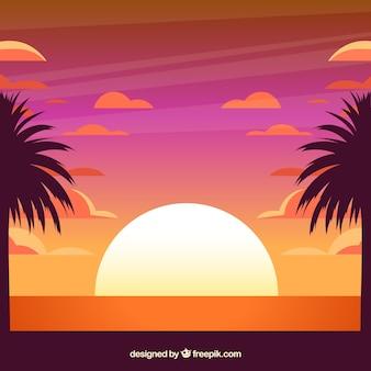Fundo de verão tropical ao pôr do sol