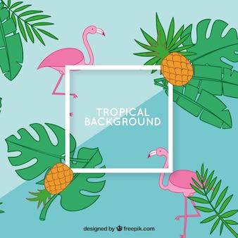 Fundo de verão tropical com flamingos e abacaxis