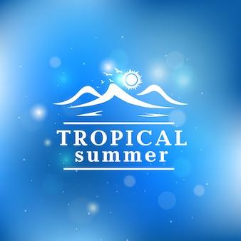 Fundo de verão tropical com luzes de bokeh