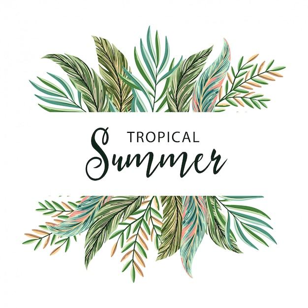 Fundo de verão tropical de folhas de palmeira