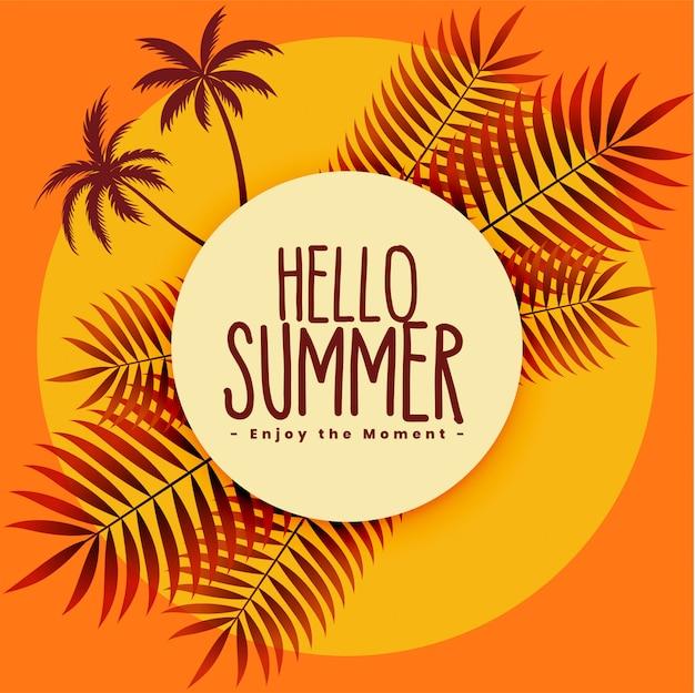 Fundo de verão tropical em cores quentes
