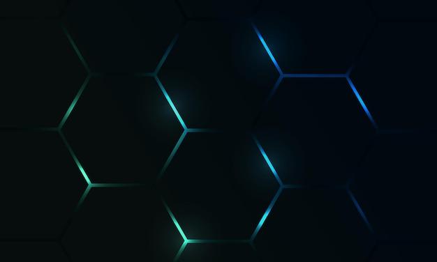 Fundo de vetor abstrato de jogo hexágono escuro com flashes brilhantes coloridos em azul e verde