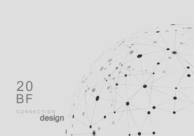 Fundo de vetor abstrato de rede com formas conectadas.