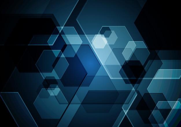 Fundo de vetor abstrato hexagonal de tecnologia