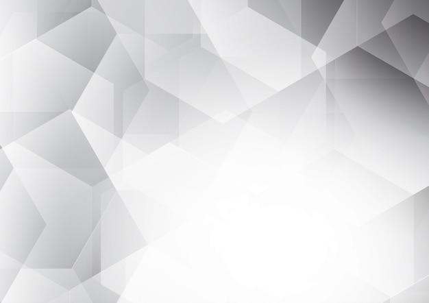 Fundo de vetor abstrato polígono de cor branca e cinza