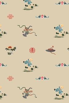 Fundo de vetor de arte oriental chinesa