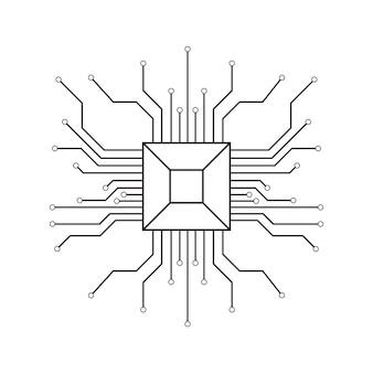 Fundo de vetor de computador com elementos eletrônicos de placa de circuito