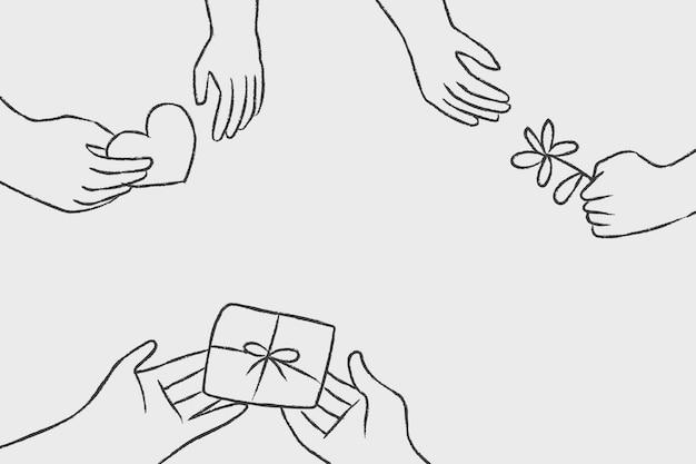 Fundo de vetor de doodle de caridade, conceito de doação