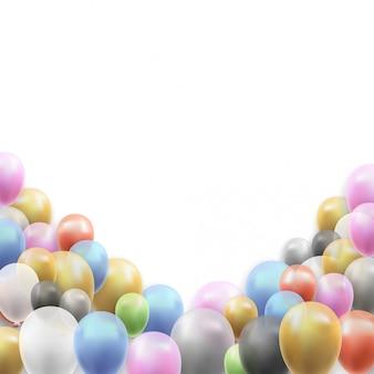 Fundo de vetor de festa de aniversário com balões