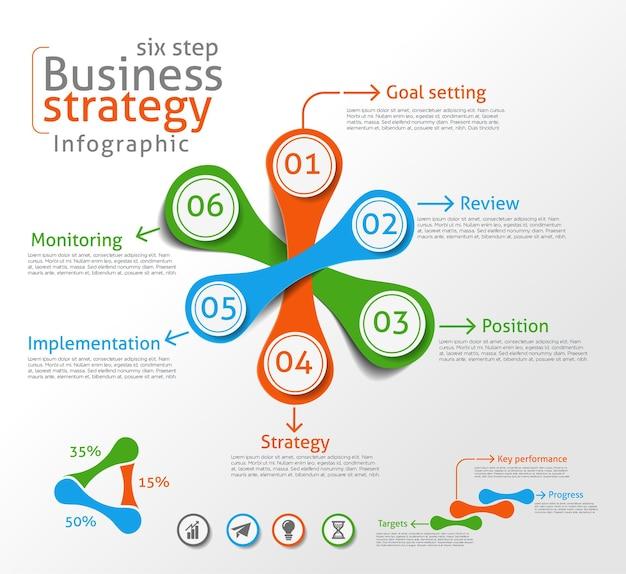 Fundo de vetor de infográfico de estratégia de negócios.