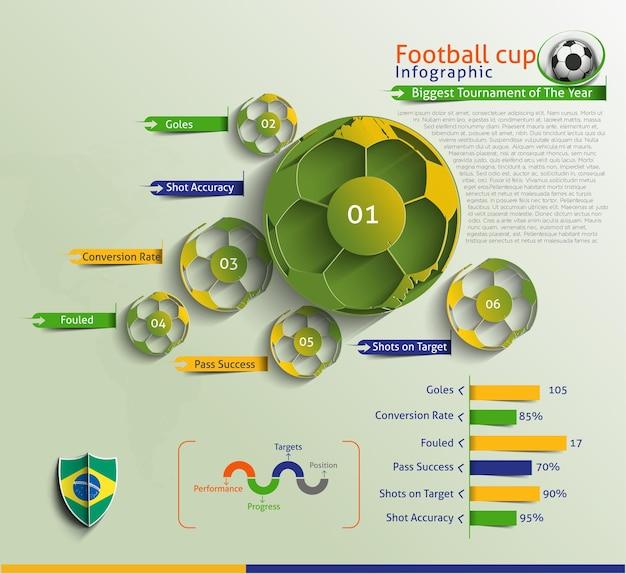 Fundo de vetor de infográfico de futebol.