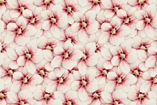 Fundo de vetor de padrão de flor de hibisco, remix de obras de arte de megata morikaga