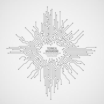 Fundo de vetor de placa-mãe de computador com elementos eletrônicos de placa de circuito