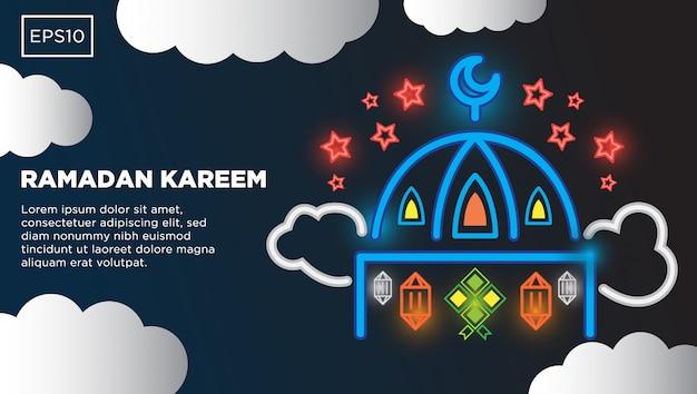 Fundo de vetor de ramadan kareem com imagem de ilustração de mesquita islâmica e modelo de texto