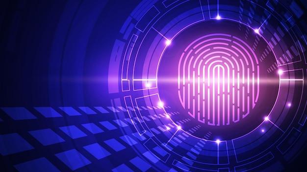 Fundo de vetor de tecnologia de impressão digital. identificação digital. eps 10