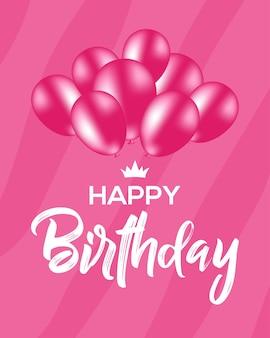 Fundo de vetor rosa lindo com balões elegantes e texto feliz aniversário
