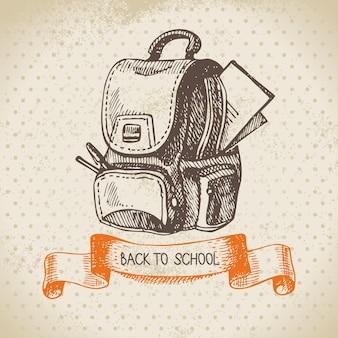 Fundo de vetor vintage com mão desenhada de volta para a ilustração da escola