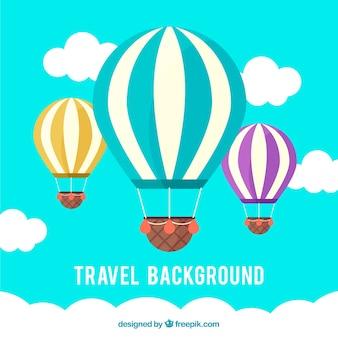 Fundo de viagem com três balões