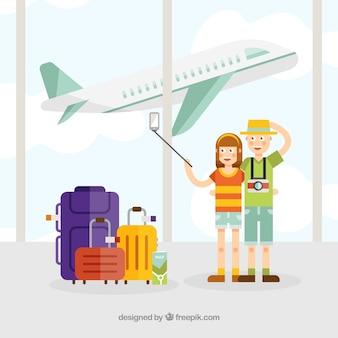 Fundo de viagens com as pessoas no aeroporto