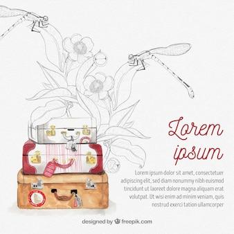 Fundo de viagens com bagagem em estilo aquarela