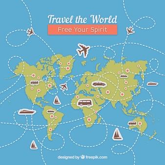 Fundo de viagens com mapa e pontos de referência