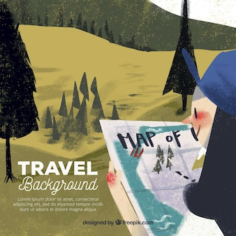 Fundo de viagens com paisagem