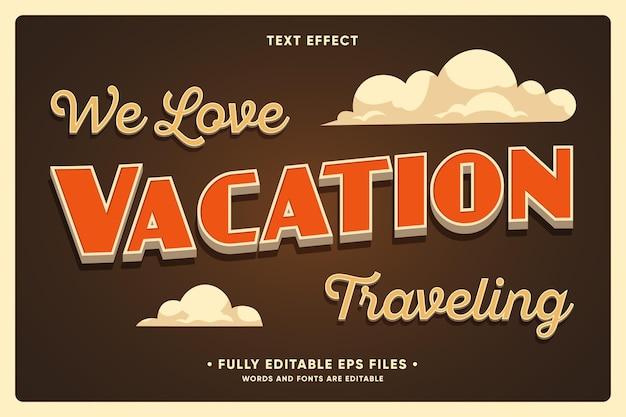Fundo de viagens de férias com efeito de texto