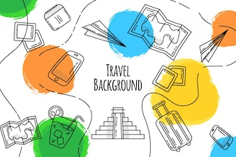 Fundo de viagens de mão desenhada